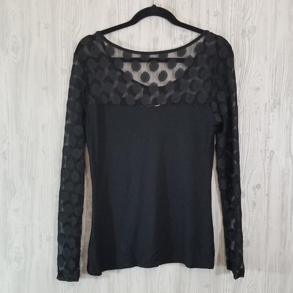Boston Proper Tops - Boston Proper Black Sheer Long Sleeve Shirt Medium